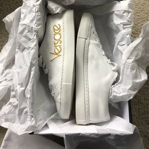 9af48171454 Versace Shoes | Vintage Logo Leather Sneakers | Poshmark